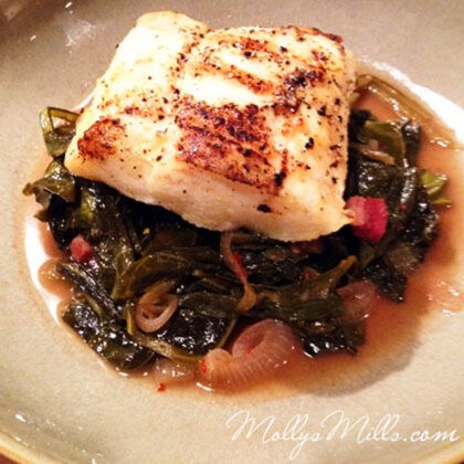 MollysMills.com Grilled Cod with Collards & Bacon