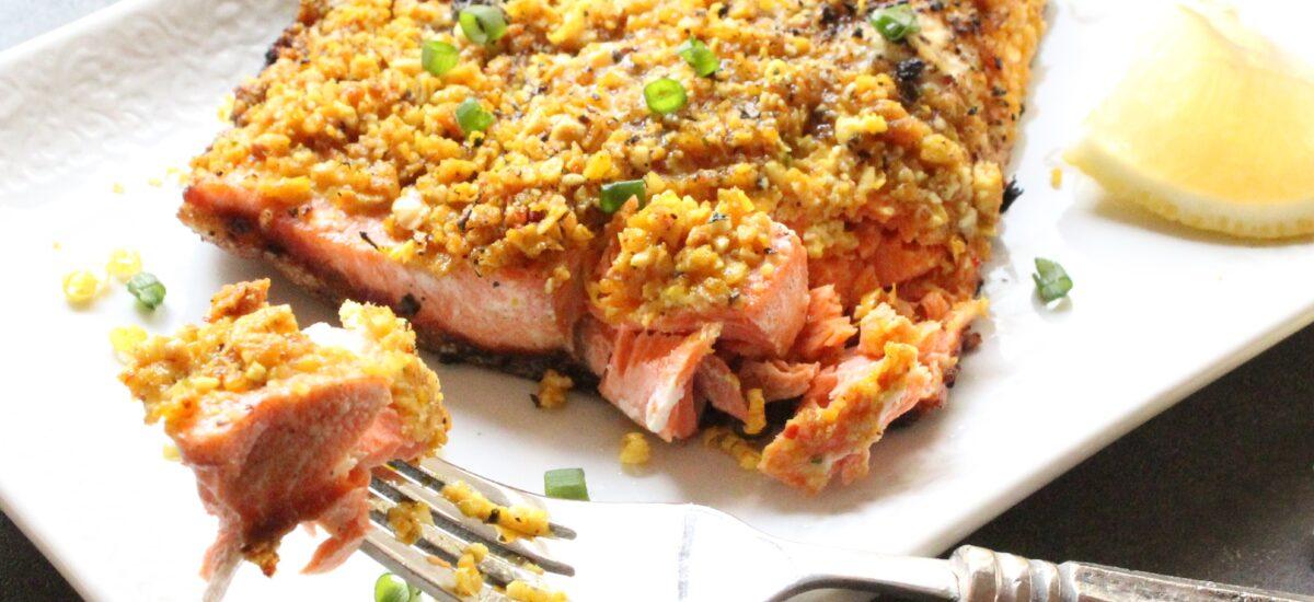 Granola Crusted Garlic and Lemon Salmon