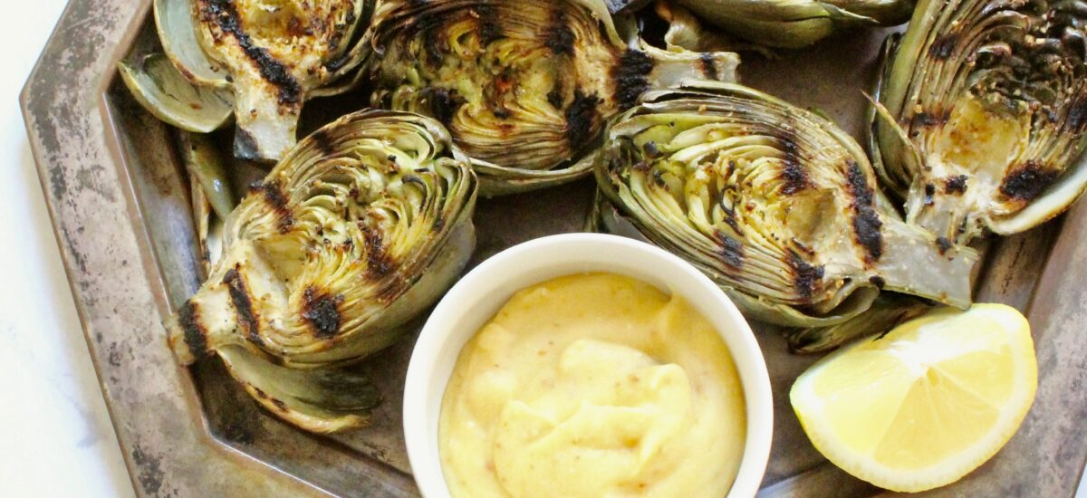 Garlicky Grilled Artichokes with Brown Butter Mayo
