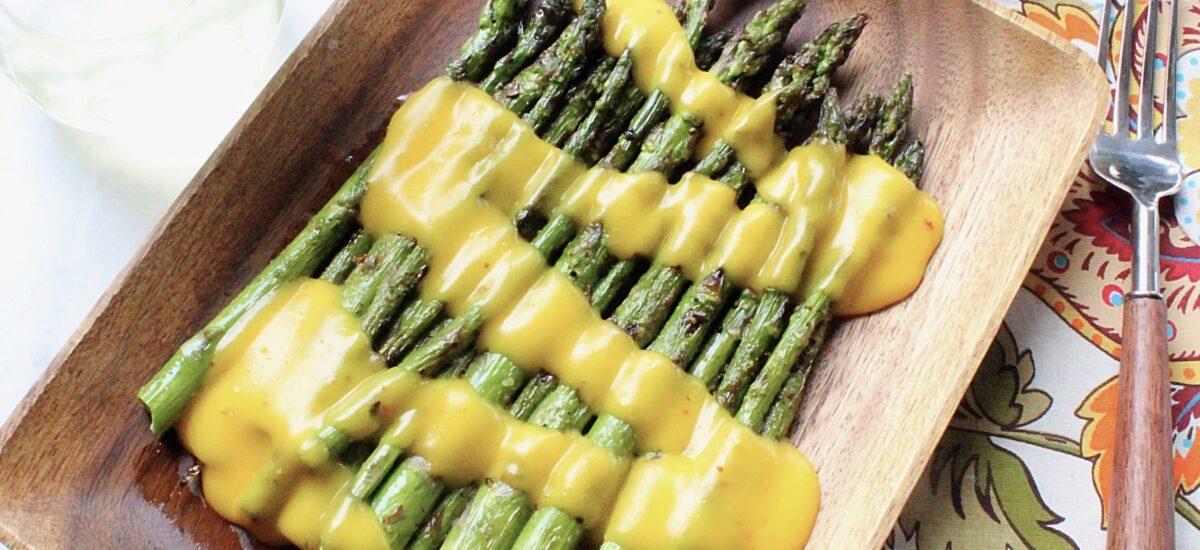 Grilled Garlicky Asparagus with Jalapeño Lemonade Hollandaise