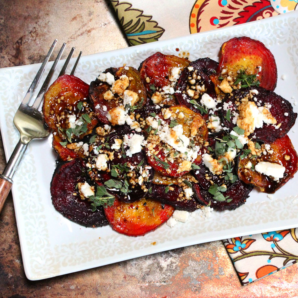 Grilled Beets with Feta and a Balsamic-Honey Drizzle
