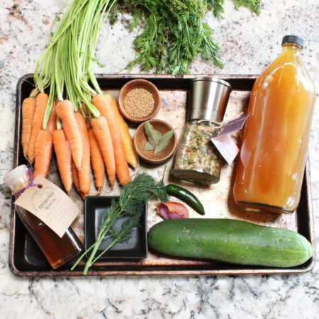 Local and seasonal ingredients for your quick pickles.