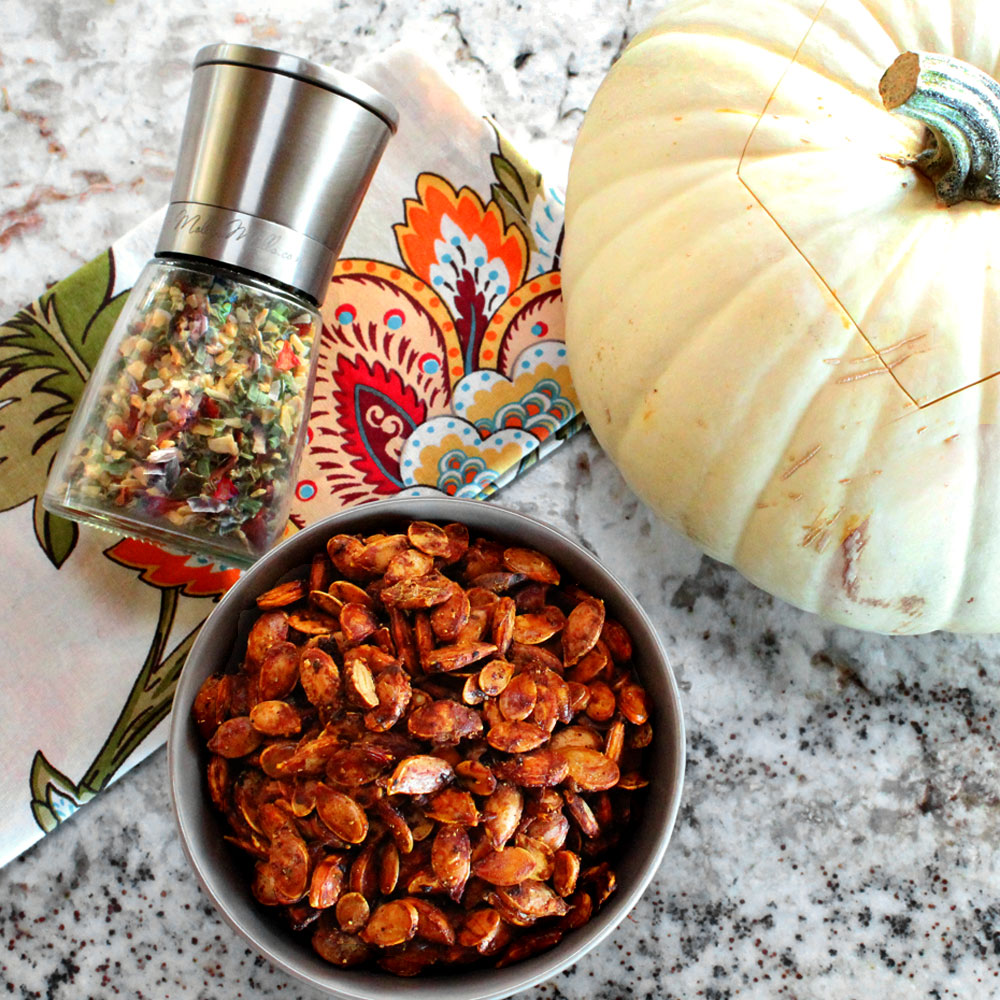 Roasted Pumpkin and Squash Seeds with Molly's Mills