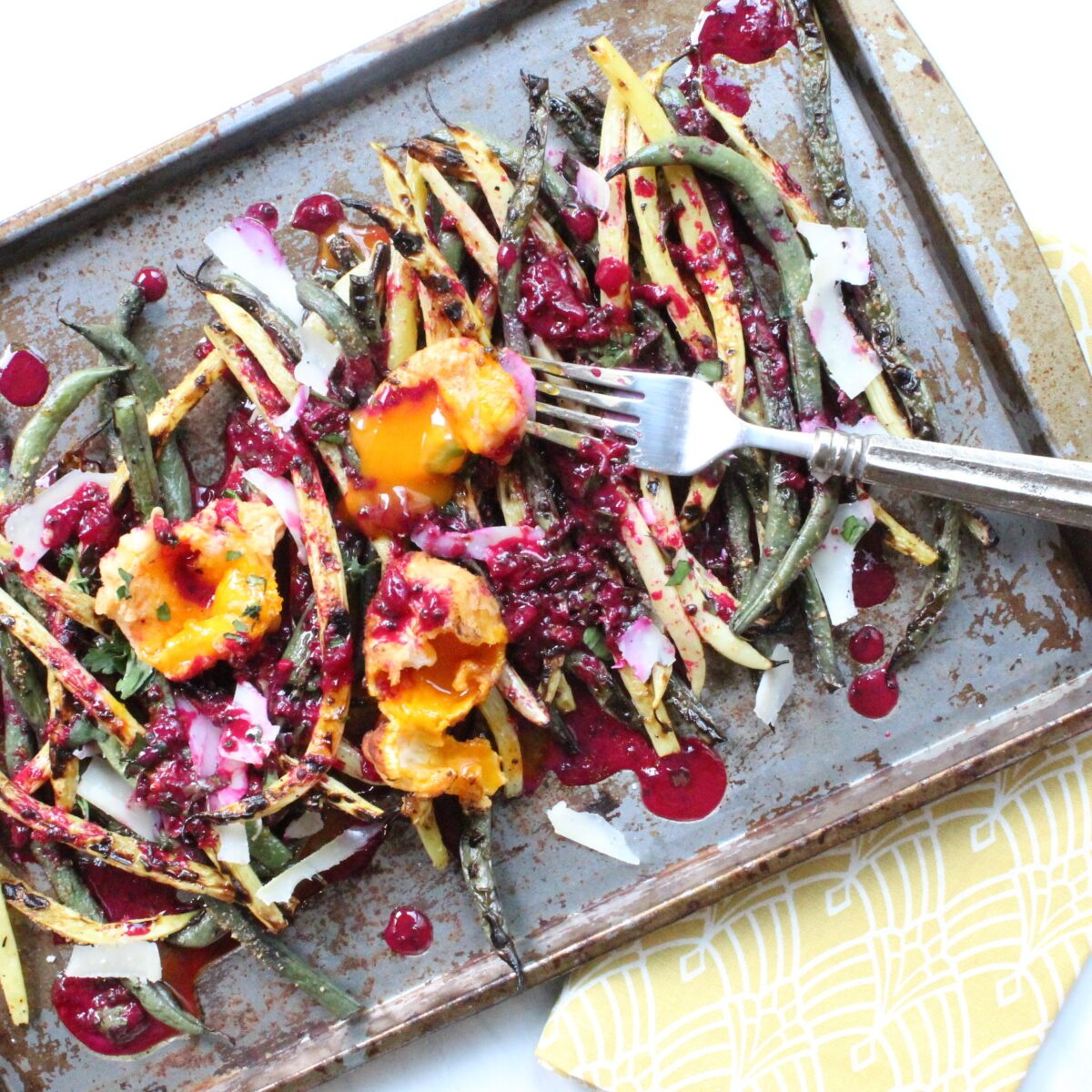 Grilled Bean Salad with Prickly Pear Vinaigrette and Deep Fried Egg Yolks