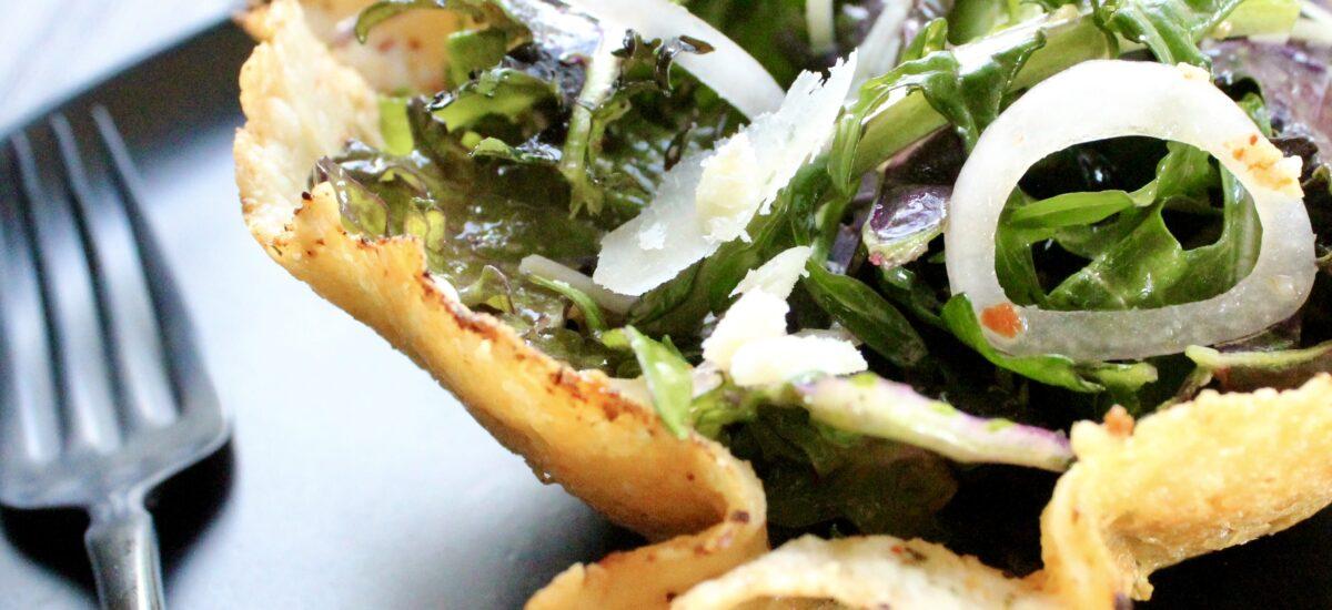 Cheesy Salad Bowls with Citrusy Greens
